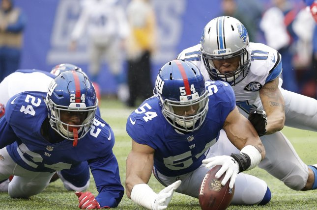 New York Giants linebacker Olivier Vernon (54) is headed to the Cleveland Browns after being traded Thursday for guard Kevin Zeitler. Vernon had seven sacks and made his first Pro Bowl in 2018. File Photo by John Angelillo/UPI