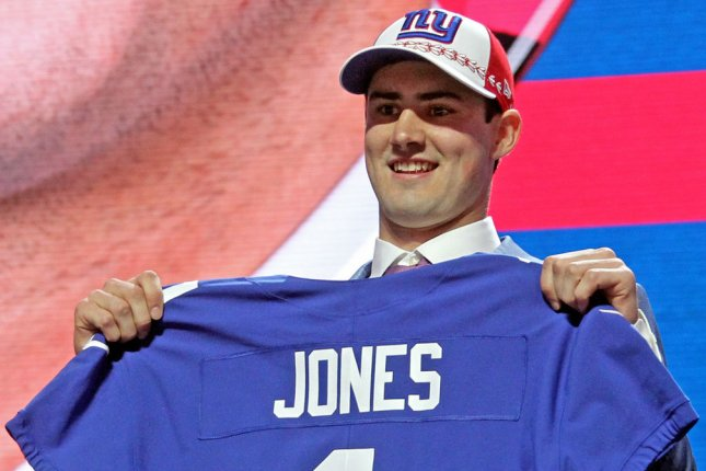 Duke's Daniel Jones was a surprise pick for the New York Giants at No. 6 overall in the first round of the 2019 NFL Draft on Thursday in Nashville. Photo by John Sommers II/UPI