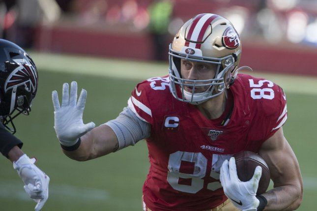 San Francisco 49ers tight end George Kittle has accumulated 2,945 receiving yards since entering the league as a fifth-round draft pick in 2017. File Photo by Terry Schmitt/UPI