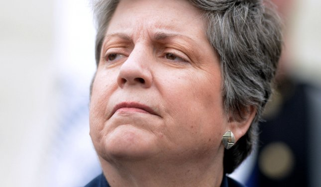 Then U.S. Secretary of Homeland Security Janet Napolitano looks on during the 32st Annual National Peace Officers Memorial Service at the West Front Lawn of the U.S. Capitol in Washington, D.C. on May 15, 2013. UPI/Olivier Douliery/Pool