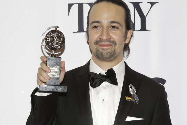 Hamilton creator and star Lin-Manuel Miranda arrives in the press room after winning a Tony Award at the 70th Annual Tony Awards at the Beacon Theatre on June 12, 2016 in New York City. This year's ceremony is to take place June 11 at Radio City Music Hall. File Photo by John Angelillo/UPI
