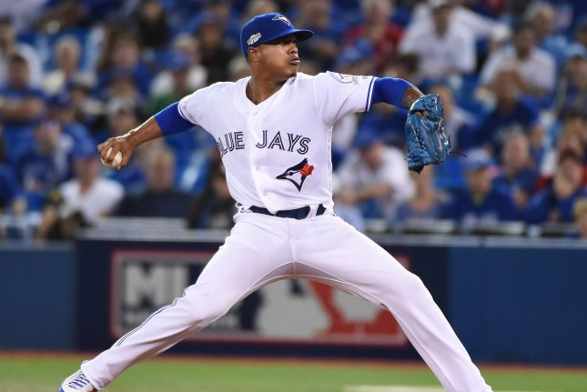 Toronto Blue Jays pitcher Marcus Stroman delivers to the Cleveland Indians in the first inning on October 17, 2016 at Rogers Centre in Toronto. File photo by Darren Calabrese/UPI