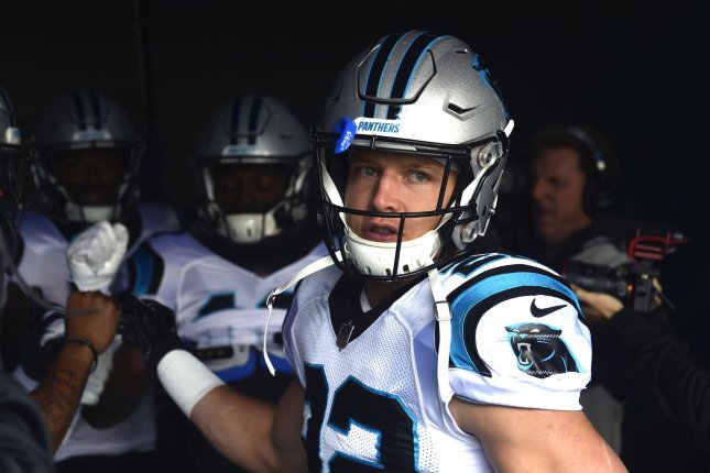 Carolina Panthers running back Christian McCaffrey runs out of the tunnel during warm-ups prior to an NFL football game against the Philadelphia Eagles on October 21 at Lincoln Financial Field in Philadelphia. Photo by Derik Hamilton/UPI