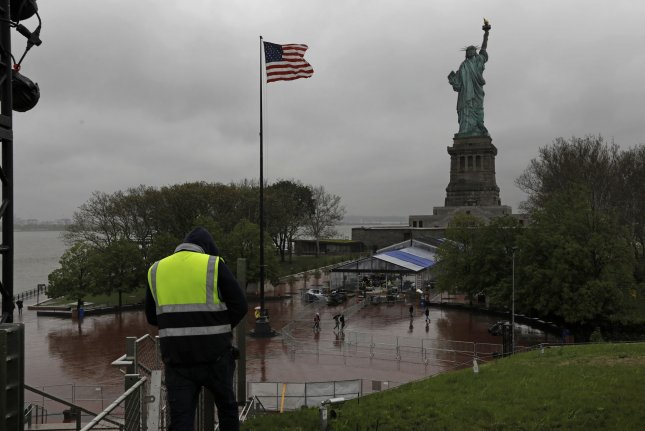 Workers put the final touches on the new Statue of Liberty Museum in New York City on May 13. File Photo by Peter Foley/UPI