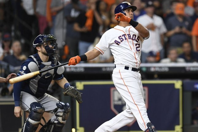 Houston Astros left fielder Michael Brantley went 1-for-5 in a win against the New York Yankees in Game 2 of the American League Championship Series Sunday in Houston. Photo by Trask Smith/UPI