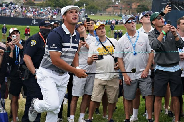 Bryson DeChambeau reacts after hitting out of the gallery on the 10th green at the 121st U.S. Open on Sunday at Torrey Pines Golf Course in San Diego. Photo by Richard Ellis/UPI
