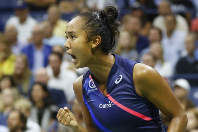 Leylah Fernandez of Canada reacts after winning a point over Aryna Sabalenka during the semifinals of the 2021 U.S. Open Tennis Championships on Thursday inside Arthur Ashe Stadium at the USTA Billie Jean King National Tennis Center in New York City. Photo by John Angelillo/UPI