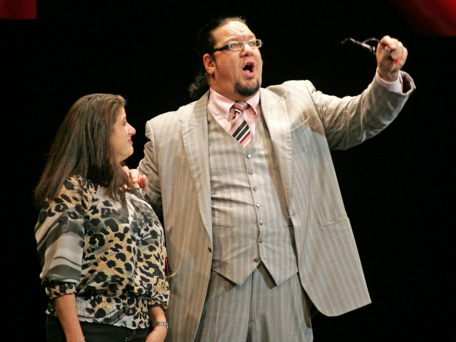 Penn Jillette with Penn & Teller performs at the Seminole Hard Rock Hotel and Casino in Hollywood, Florida on February 4, 2011. UPI/Michael Bush