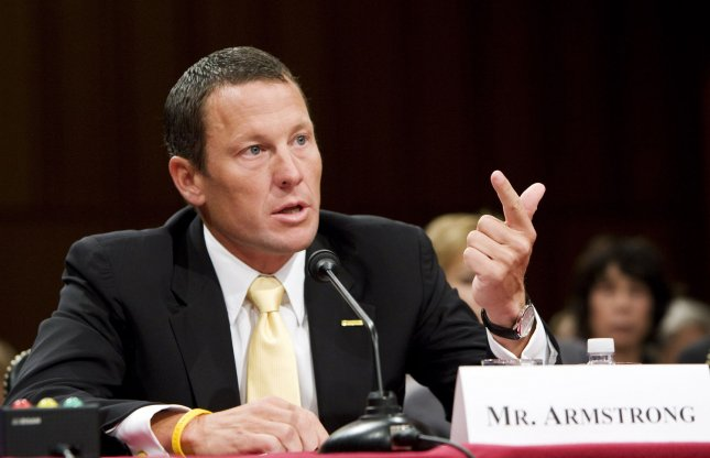 Lance Armstrong, seven time Tour de France winner and cancer survivor, testifies during a Senate Health, Education, Labor and Pensions Committee hearing on cancer research on Capitol Hill in Washington on May 8, 2008. (UPI Photo/Patrick D. McDermott)
