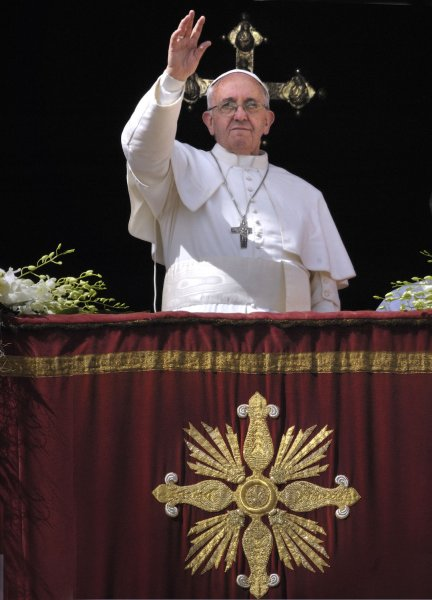 Pope Francis celebrates Easter Sunday mass, 'Urbi et Orbi' (to the city and the world) benediction, in Saint Peter's Square at the Vatican on March 31, 2013. UPI/Stefano Spaziani