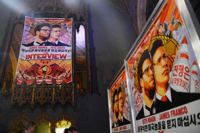 Posters of The Interview hang inside The Theatre at Ace Hotel at the world premiere of the motion picture comedy in Los Angeles on December 11, 2014. Foreign diplomats in Pyongyang are now banned from owning items critical of Kim Jong Un. Photo by Jim Ruymen/UPI
