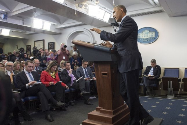 President Barack Obama speaks during his year-end press conference at the White House in Washington, D.C., on Friday. One day earlier, he gave an interview to NPR. Photo by Kevin Dietsch/UPI
