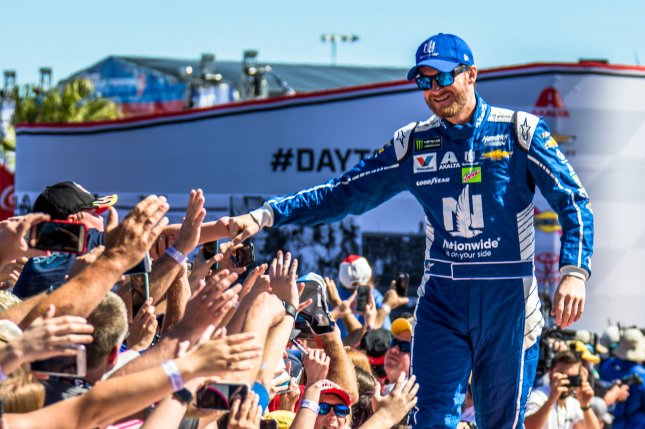 Dale Earnhardt Jr greets fans prior to the 59th Daytona 500 on February 26, 2017 in Daytona, Florida. File photo by Edwin Locke/UPI
