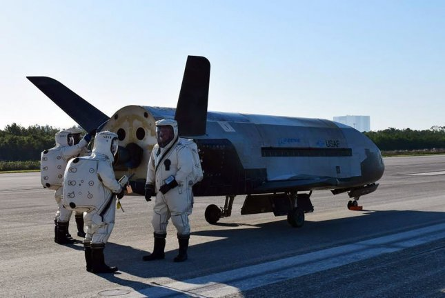 The U.S. Air Force's X-37B Orbital Test Vehicle 4 is seen at NASA's Kennedy Space Center Shuttle Landing Facility after landing in Florida on May 7, 2017. Managed by the Air Force Rapid Capabilities Office, the X-37B program is the newest and most advanced re-entry spacecraft designed to perform risk reduction, experimentation and concept of operations development for reusable space vehicle technologies. Photo by U.S. Air Force/UPI