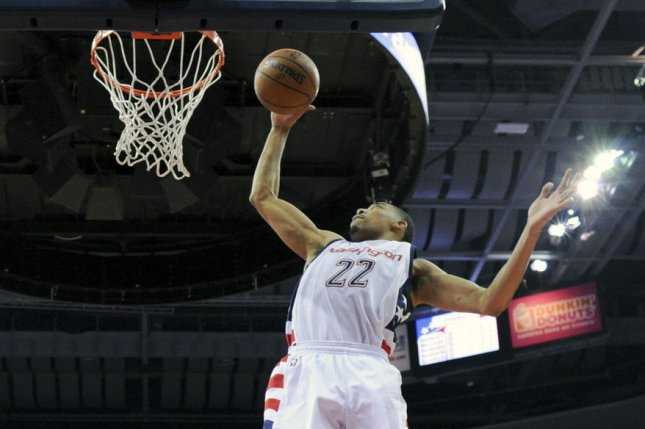 Washington Wizards forward Otto Porter Jr. (22) pulls down a rebound against the Atlanta Hawks in the first half at the Verizon Center in Washington, D.C. on April 16, 2017 in the first round of the NBA Playoffs. File photo by Mark Goldman/UPI