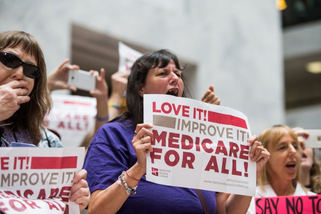 Healthcare activists protest on Capitol Hill on July 17, 2017. A major liberal think tank on Thursday announced a proposal called Medicare Extra For All, as a solution to universal healthcare in the United States. File Photo by Erin Schaff/UPI
