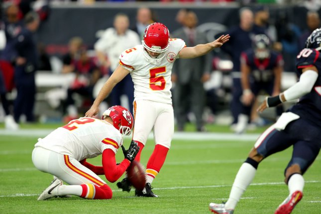 Former Kansas City Chiefs kicker Cairo Santos (5) kicks a 49-yard field goal in the second quarter of the AFC Wild Card Round on January 9, 2016 at NRG Stadium in Houston. File photo by Erik Williams/UPI