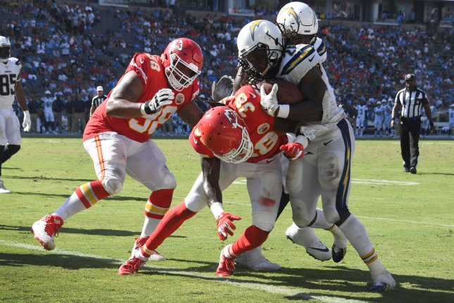 Los Angeles Chargers running back Melvin Gordon (28) scores on a two-point conversion in the fourth quarter against the Kansas City Chiefs on September 9, 2018 at the StubHub Center in Carson, California. Photo by Jon SooHoo/UPI