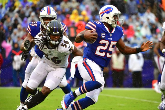Buffalo Bills running back LeSean McCoy (25) rushes against the Baltimore Ravens during the second quarter on September 9 at M&T Bank Stadium in Baltimore, Maryland. Photo by Kevin Dietsch/UPI