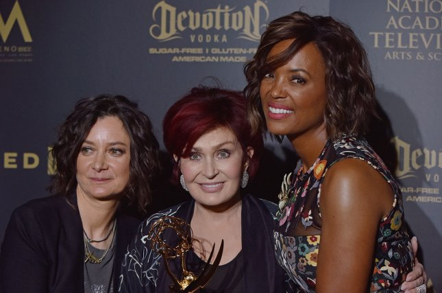 Sharon Osbourne (C), pictured with Sara Gilbert (L) and Aisha Tyler, shared a story on The Late Late Show with James Corden while discussing her role as manager to Ozzy Osbourne. File Photo by Christine Chew/UPI