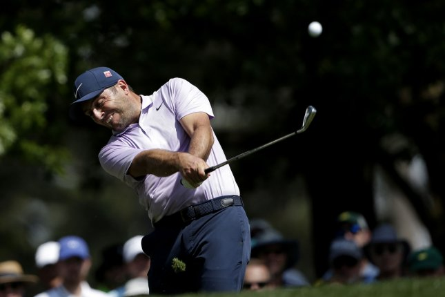 Francesco Molinari of Italy hits a tee shot on the fourth hole in the third round at the 2019 Masters at Augusta National Golf Club in Georgia on Saturday. He finished with a 66. Photo by John Angelillo/UPI