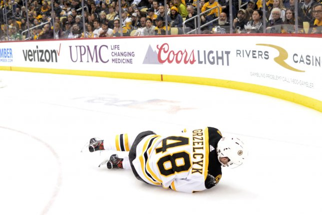 Boston Bruins defenseman Matt Grzelcyk (48) was labeled day-to-day after he was sent to the hospital. St. Louis Blues forward Oskar Sundqvist boarded Grzelcyk in Game 2 on Wednesday night. File Photo by Archie Carpenter/UPI