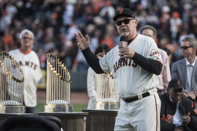 New San Francisco Giants general manager Scott Harris will be tasked with finding a replacement for former manager Bruce Bochy (pictured), who retired at the end of last season. File Photo by Terry Schmitt/UPI