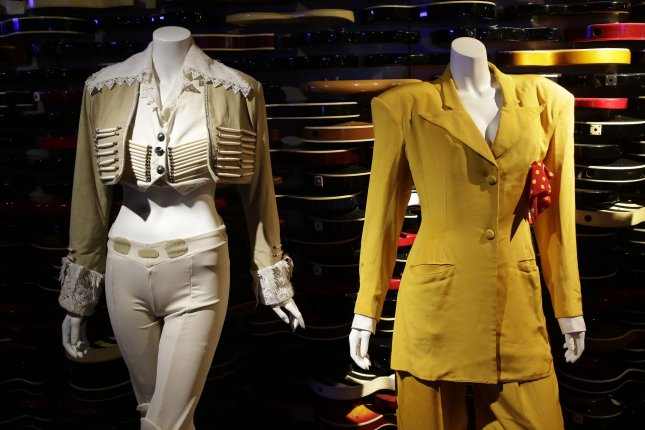 Clothing, costumes and other items belonging to pop superstar Janet Jackson were on display Monday at the Hard Rock Cafe in New York Citybefore their scheduled sale later this month by Julien's Auctions. Photo by John Angelillo/UPI