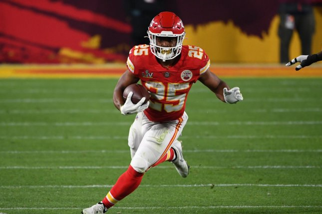 Kansas City Chiefs running back Clyde Edwards-Helaire, shown Feb. 7, 2021, suffered the injury during Sunday night's loss to the Buffalo Bills. File Photo by Kevin Dietsch/UPI