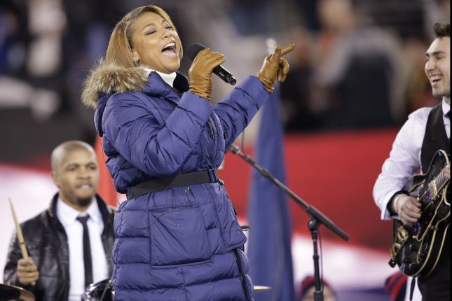 Queen Latifah sings at Super Bowl XLVIII at MetLife Stadium in East Rutherford, New Jersey on February 2, 2014. UPI/John Angelillo