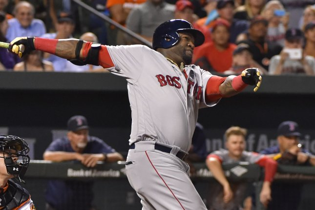 Boston Red Sox designated hitter David Ortiz watches his 2-RBI home run against the Baltimore Orioles during the fifth inning at Camden Yards in Baltimore, September 19, 2016. Photo by David Tulis/UPI