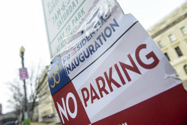 Street parking is blocked around the city due to security around Presdient-elect Donald Trump's inauguration in Washington, D.C., on Jan. 19, 2017. Pro-marijuana advocacy group DCMJ announced it will be handing out 4,200 free joints at the inauguration Friday, with recipients asked to light up four minutes and 20 seconds into Trump's speech. Photo by Leigh Vogel/UPI