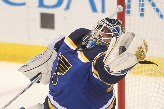 St. Louis Blues goaltender Carter Hutton stopped 25 shots for his fourth shutout of the season as St. Louis posted a 2-0 victory over Detroit. File Photo by Bill Greenblatt/UPI