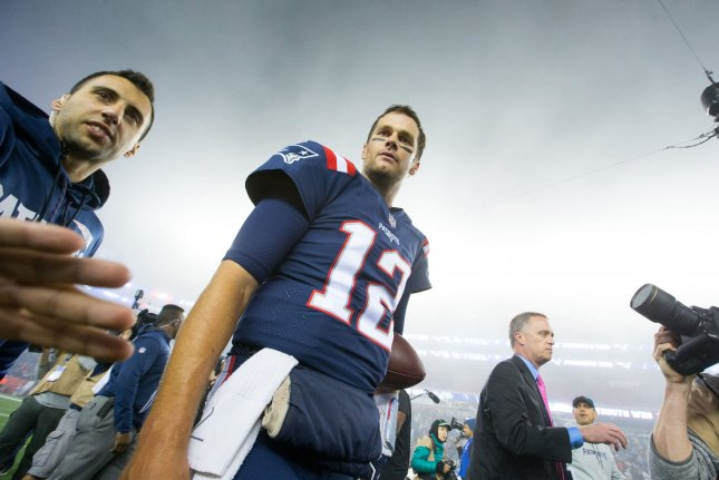 New England Patriots quarterback Tom Brady (12) heads off the field after the Patriots defeated the Falcons 23-7 on October 22 at Gillette Stadium in Foxborough, Mass. Photo by Matthew Healey/UPI