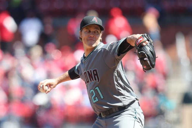Arizona Diamondbacks starting pitcher Zack Greinke (21) delivers a pitch to the St. Louis Cardinals in the fourth inning on April 7, 2018 at Busch Stadium in St. Louis. Photo by Bill Greenblatt/UPI