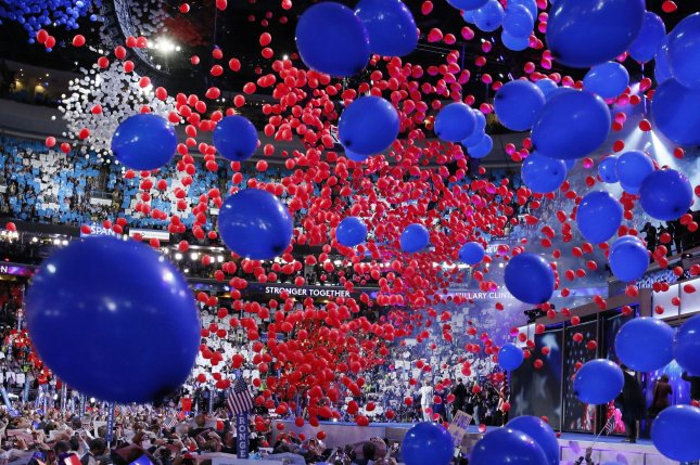 Democratic presidential nominee Hillary Clinton celebrates at the party's 2016 convention in Philadelphia, Pennsylvania on July 28, 2016. The Democratic Party said Friday its convention will be held two weeks earlier in 2020. File Photo by Ray Stubblebine/UPI