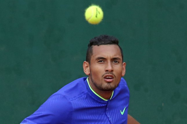 Australian Nick Kyrgios watches the ball during his French Open men's first round match against Philipp Kohlschreiber of Germany in 2017 at Roland Garros in Paris. File photo by David Silpa/UPI