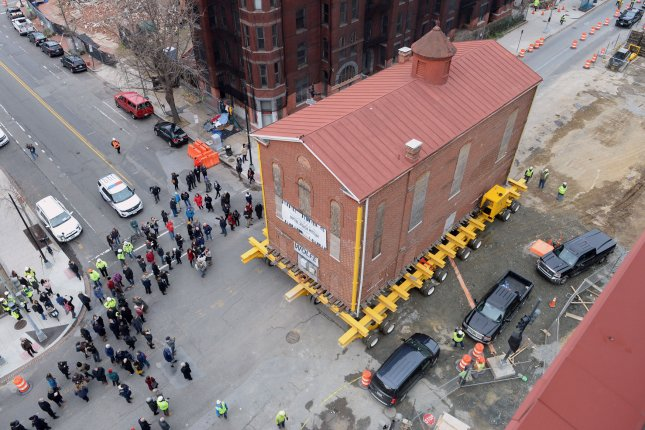Workers move Adas Israel synagogue one block south to its new location, where it be incorporated into the Capital Jewish Museum in Washington, D.C., on January 9, 2019. The 143-year-old structure is D.C.'s oldest synagogue. Photo by Kevin Dietsch/UPI