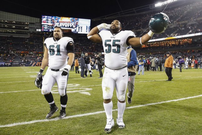 Philadelphia Eagles defensive end Brandon Graham (55) is now signed with the franchise though 2021 after agreeing to a three-year contract extension that was announced Friday. Photo by Kamil Krzaczynski/UPI