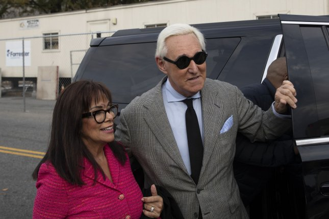 Roger Stone, a former advisor to President Donald Trump, arrives with his wife Nydia for his trial at the E. Barrett Prettyman United States Courthouse in Washington, D.C., on November 7. File Photo by Tasos Katopodis/UPI