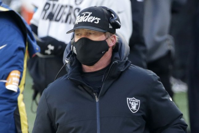 Las Vegas Raiders head coach Jon Gruden (pictured) relieved Paul Guenther of his duties after his defensive unit gave up 212 rushing yards during Sunday's matchup against the Indianapolis Colts. File Photo by John Angelillo/UPI
