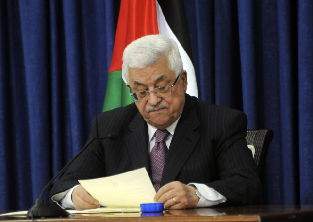 Palestinian President Mahmoud Abbas announces his decision not to seek reelection in the January elections during a speech in Ramallah, West Bank, November 5, 2009. President Abbas cited disappointment with the US policy on Israeli settlements as one of the factors that led to his decision. UPI/Debbie Hill