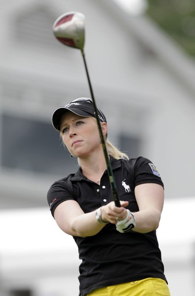 Morgan Pressel, shown at a 2011 tournament, shares the lead after the first round Thursday of the Women's British Open. UPI/John Angelillo