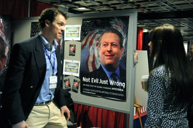 A poster accusing former Vice President Al Gore of being wrong about global warming is displayed at the American Conservative Union's 2009 Conservative Political Action Conference in Washington. (UPI Photo/Roger L. Wollenberg)