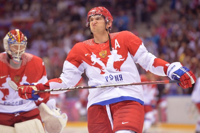 Russia's Alex Ovechkin reacts as Russia plays USA in their preliminary round game during the Sochi 2014 Winter Olympics on February 15, 2014 in Sochi, Russia. Photo by Kevin Dietsch/UPI