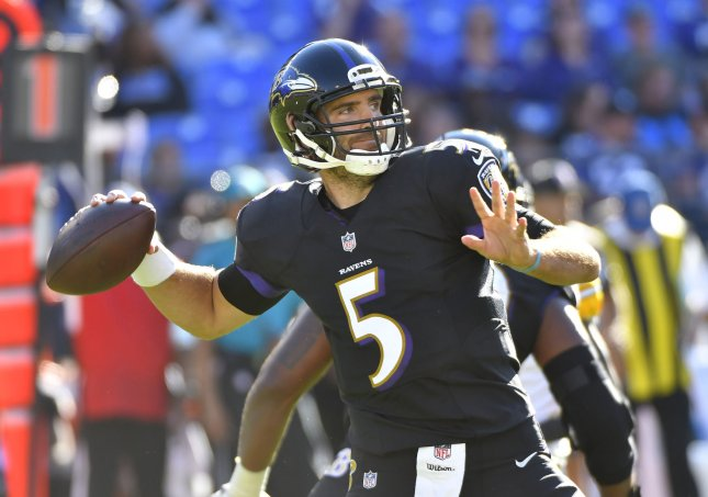 Baltimore Ravens quarterback Joe Flacco suffered a concussion in Thursday's win over the Miami Dolphins. Photo by David Tulis/UPI