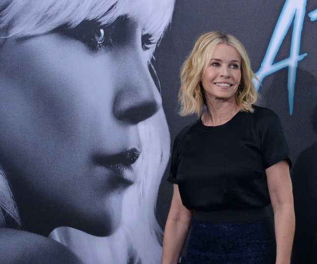 Chelsea Handler attends the premiere of Atomic Blonde at The Theatre at the Ace Hotel in downtown Los Angeles on July 24. On Wednesday, she tweeted that she had to evacuate her home due to wildfires in the Los Angeles area. File Photo by Jim Ruymen/UPI