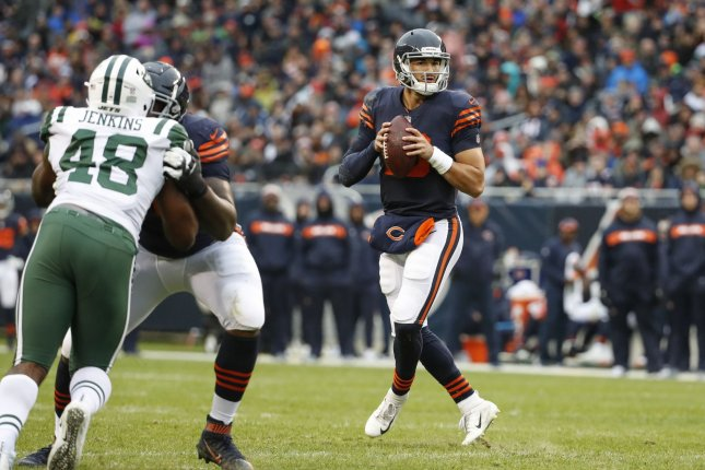 Chicago Bears quarterback Mitchell Trubisky looks to pass during a game against the New York Jets at Soldier Field on October 28, 2018. Photo by Kamil Krzaczynski/UPI