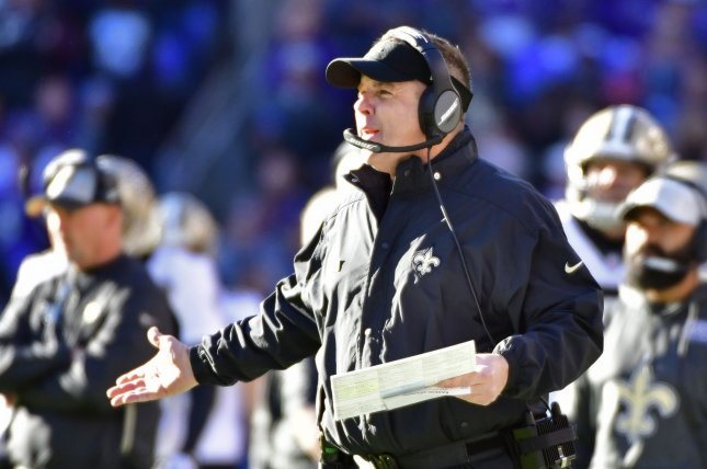 New Orleans Saints head coach Sean Payton reacts during the first half of a game against the Baltimore Ravens on October 21 at M&T Bank Stadium in Baltimore, Maryland. Photo by David Tulis/UPI