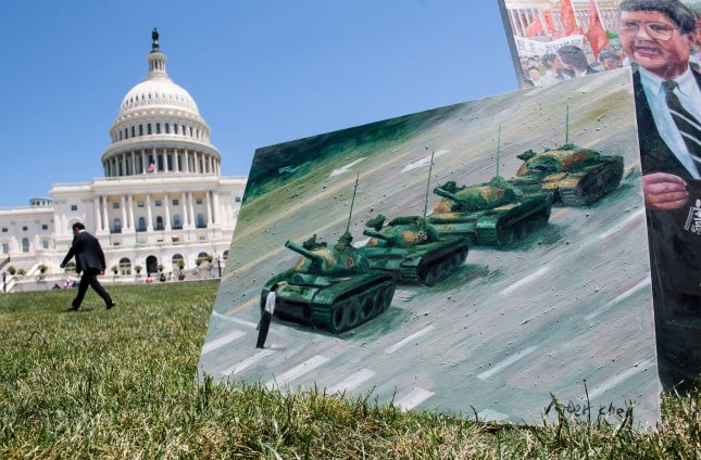 An art exhibit is part of an event remembering the 30th anniversary of the Tiananmen Square Massacre, during a rally calling for an end to alleged human rights injustices and Communist rule in China, at the U.S. Capitol in Washington, D.C. on June 4, 2019. Photo by Kevin Dietsch/UPI
